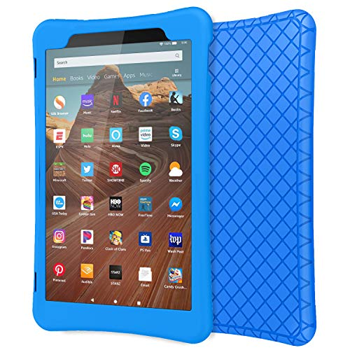 MoKo Case for All-New Fire HD 10 Tablet (7th Generation/9th Generation, 2017/2019 Release), Shockproof Soft Silicone Back Cover [Kids Friendly] for Fire HD 10.1, Blue