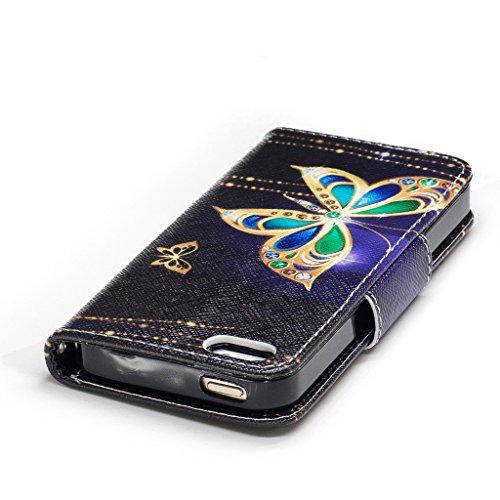 Crisant Goldschmetterling Drucken Design schutzhülle für Apple iPhone 5 5S / SE,PU Leder Wallet Handytasche Flip Case Cover Etui Schutz Tasche mit Integrierten Card Kartensteckplätzen und Ständer Funk