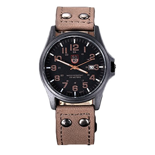 Military Watch Expedition Field (Lookatool Vintage Classic Men's Waterproof Date Leather Strap Sport Quartz Army Watch)