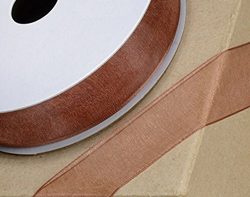 Mm 10 Edge Woven - 10mm Copper Woven Edge Organza Ribbon for Crafts - 25m