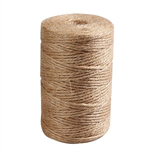 Craft Decor Natural Jute Twin String Hemp Ribbon Rope for Packing Garden Arts Wedding Gift Craft Cord DIY Decorate Wrapping Handmade Accessory Thread 100 M ()