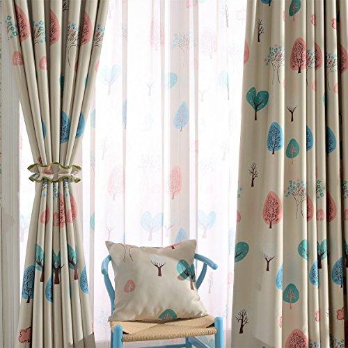 Cartoon Trees Curtains For Bedroom Cotton Linen Towel: AUTHENTIC Melodieux Cartoon Trees Blackout Grommet Top