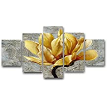 VIIVEI Yellow and Grey Flower Wall Art Abstract Oil Print on Canvas Home Decor Pictures 5 Panels Large Poster Printed Painting Framed Ready to Hang for Living Room