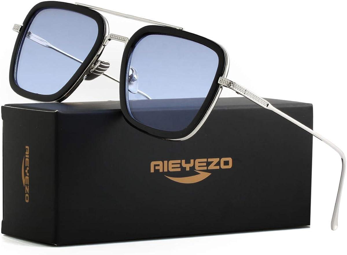 Amazon.com: Tony Stark Sunglasses Vintage Square Metal Frame Eyeglasses for Men Women - Iron Man and Spider-Man Sun Glasses (Spider Man Same Color): Clothing