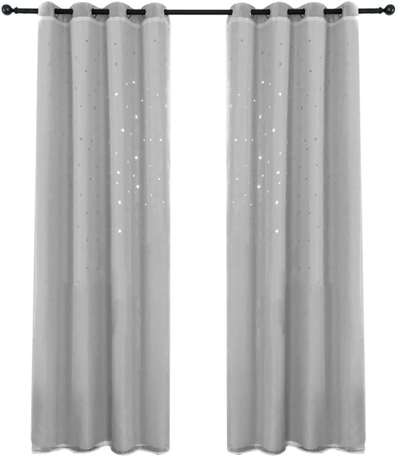 Abracing 2Pcs Double Layers Blackout Curtains Drapes with Hollow Star for Kids Room Home Decor
