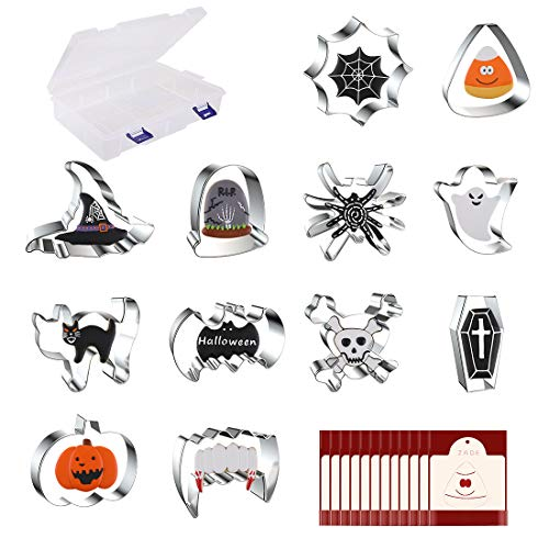 Cookie Cutters Helloween Set, Stainless Steel 12PCS, Cobwebs, Corn, Wizarding Hats, Ghosts, Skeletons, Pumpkins Ect. Cake Fruit Mousse Cake