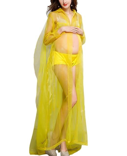 Vestido de Fotografía de Mujer Embarazada Vestido de Verano de Moda Sexy Transparente