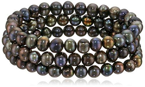 Bella Pearl Set of 3 Black Pearl Stretch (Belle Set Bracelet)