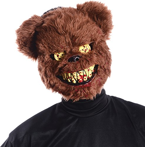 [Ted Deady Bear Creepy Scary Bloody Teeth Latex Adult Halloween Costume Mask] (Halloween Costumes For 4 People)