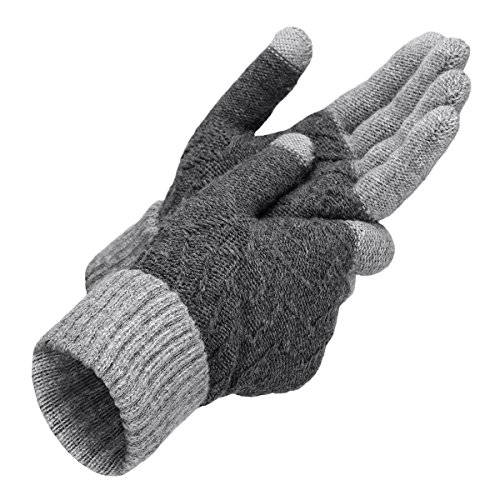 OMECHY Unisex Winter Warm Knit Mittens Texting Touchscreen Gloves for Men and Women,3 colors