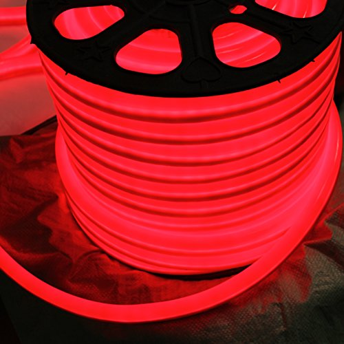 (Vasten 12 Volt LED Flex NEON Light Strip, 65 Feet, Blue, White, Red Waterproof Resistant, Accessories Included - [Ideal For Home Improvement Indoor Outdoor Rope Lighting] [Ready to use] (Red))