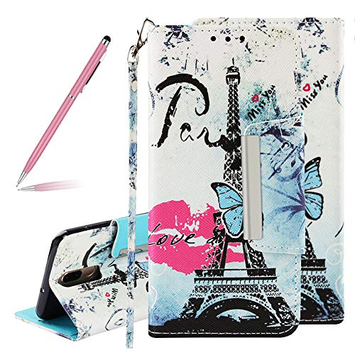 Colorful Art Painted Red Lips Tower Pattern PU Leather Fold Flip Wallet Case for Huawei Mate 10 lite,SKYXD 3D Creative Painting Effect Design Protective Cover Magnetic Closure with Wrist Strap -