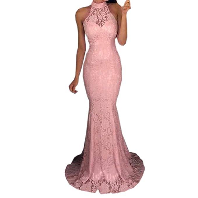 ... Vestito Donna Elegante Abito Sexy Donna Abiti Donna Eleganti Mini  Cocktail Gonna Manica Lunga Vita A-Linea Pizzo Rosa Abito  Amazon.it   Abbigliamento 03d1ff865b1