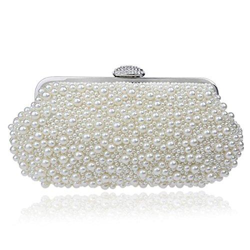 Pearl Handbag - EPLAZA Women Pearl Beaded Evening Clutch Handbags Wedding Party Bags Purse (beige)