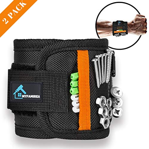 2 PACK Magnetic Wristband for 15 Super Strong Magnets, Magnetic Wrist Band Tool Belt With Super Strong Magnets for Holding Screws,Nails,Drill Bits(Valentine's Day Gift Tool Band for him,Husband,Guys