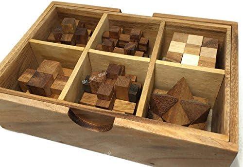 6 en uno de madera Puzzle Juegos Set 3d rompecabezas madera ...