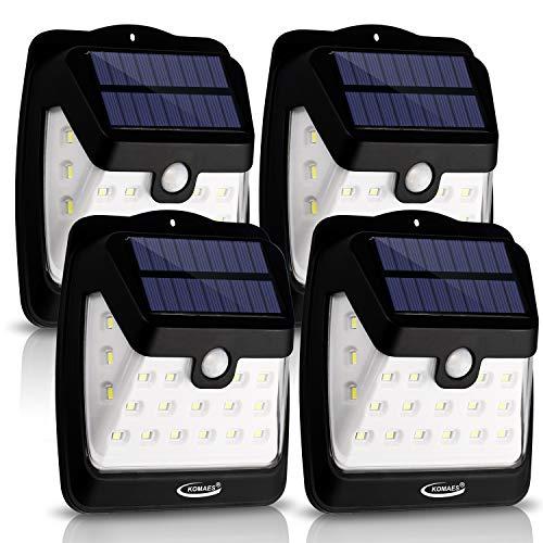 (Solar Wall Light, KOMAES 21 LED Outdoor Solar Powerd Wireless Waterproof Security Motion Sensor Light for Patio, Deck, Yard, Garden,Driveway,Outside Wall - 4 Packs)