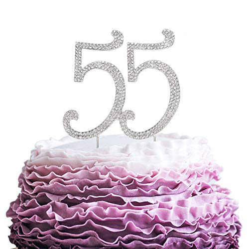 LINGPAR 55 Years Birthday Cake Topper - New Best Crystal Rhinestone 55th Wedding Anniversary Or 55 Years Old Cake Topper Party Decoration Silver