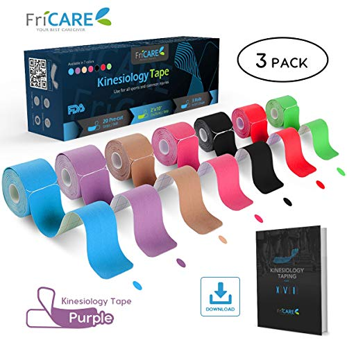 FriCARE Pre-Cut Kinesiology Sport Tape (3 Roll Pack), X Y I Shape, 17ft Athletic Kinetic Strip Aid, Breathable, Water Resistant, Pain Relief Adhesive for Muscles, Shin Splints, Knee&Shoulder (Purple) (Splint Patterns Hand)