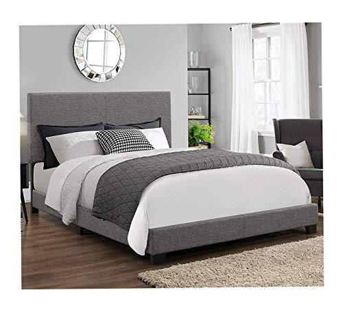 Wood & Style Ashton Upholstered Panel Bed Frame, Queen Size in Grey Fabric Comfy Living Home Décor Furniture Heavy Duty (Ashton Upholstery)