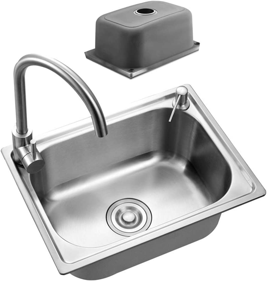 Amazon Com Stainless Steel Sink Thickened Single Bowl Kitchen Sink With Filter Drain Drain Pipe Suitable For Under Counter And Embedded Installation Satin Finish Kitchen Dining