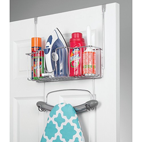 mDesign Over Door Hangin Ironing Board Holder with Large Storage Basket - Holds Iron, Board, Spray Bottles, Starch, Fabric Refresher for Laundry Rooms - Durable Steel, Chrome by mDesign (Image #1)