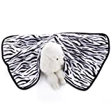 E-Smarfs Pet Zebra Print Dog Blanket Warm and Soft Flannel Fleece Dog Throw, Zebra, Medium