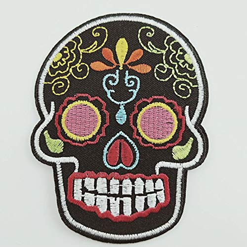 Motorcycle Jeans Hippie Black Skull Cross Flowers Dead Biker Peace Sign Club Sew/Iron On Stickers Embroidered Appliqued Patch On Your Jacket from Heavens Tvcz
