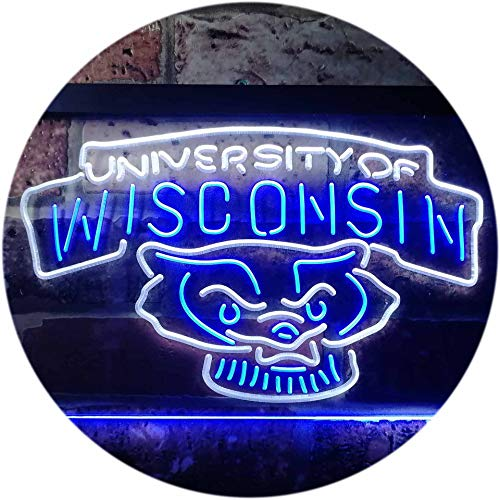 (TeroLED Wisconsin Badgers Colorful LED Neon Sign White and Blue w12 x h8)