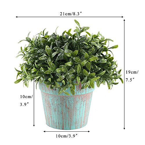 GTIDEA Fake Potted Plants Artificial Topiaries Greenery Bonsai Faux Plastic House Plants for Bathroom Home Kitchen Office Bookshelf Garden Feng Shui Decor in Vintage Wooden Pot by GTIDEA (Image #6)
