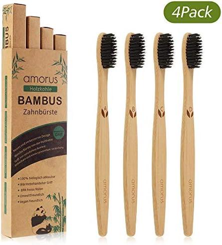 Bambus Zahnbürsten 4pcs für weiße und gesunde Zähne BPA freie Bambus Holzzahnbürste mit umweltfreundlicher Packung...