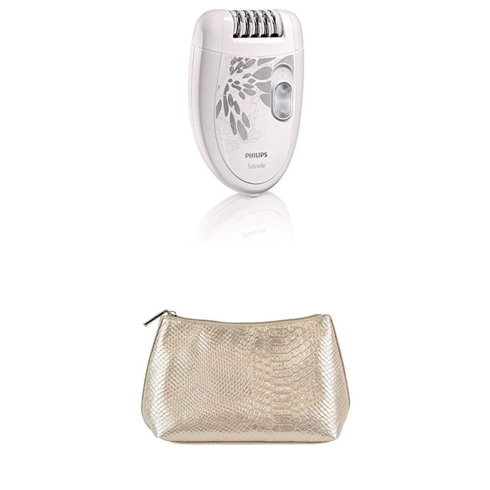 Philips Beauty HP6401/50 Satinelle Essential, Compact Hair Removal Epilator for Legs + Cosmetic Pouch