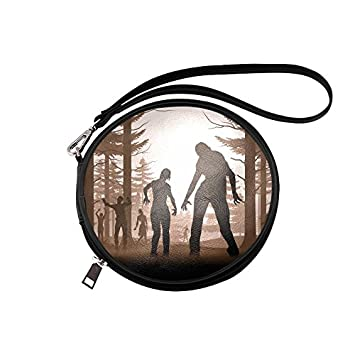 Cosmetic Bag Zombies Mystic Forest Round Makeup Bag Multifunction Toiletry Bag