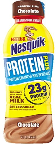 Nestle Nesquik Protein Plus Milk, 2 Flavor Variety Pack, 14 oz Plastic Bottles (Pack of 12) by Nesquik (Image #1)