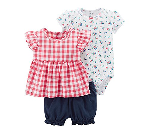 Carter'S Baby Girls' 3 Piece Bodysuit And Diaper Cover Set 24 Months, Sweet Gingham ()