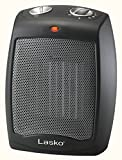 Lasko CD09250 Ceramic Heater with Adjustable Thermostat Tabletop Or Under-Desk, Black