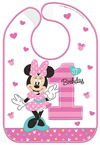 (Minnie Mouse 1st Birthday Fun to Be One' Plastic Birthday Bib)