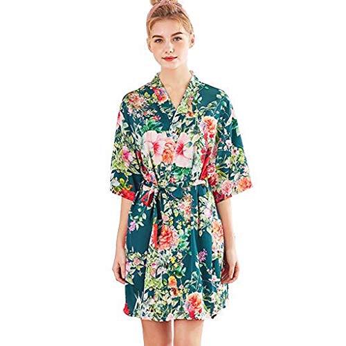 (RAINED-Women Simulation Silk Ladies Pajamas Lingerie Robe Bathrobe Bride Dressing Gown Printed Kimono Sleepwear Green)