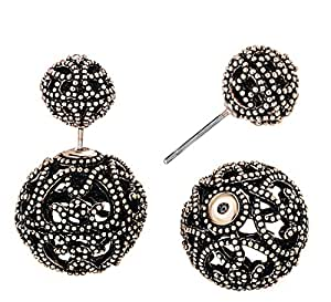 She Lian Vintage Hollow out Womens Double Side Round Ball Stud Earrings(Antique Gold Tone)
