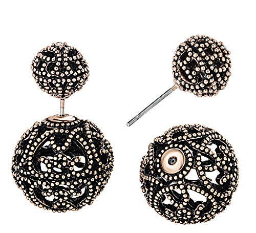 Hollow Ball Earrings - SheLian Vintage Hollow out Womens Double Side Round Ball Stud Earrings(Antique Gold Tone)