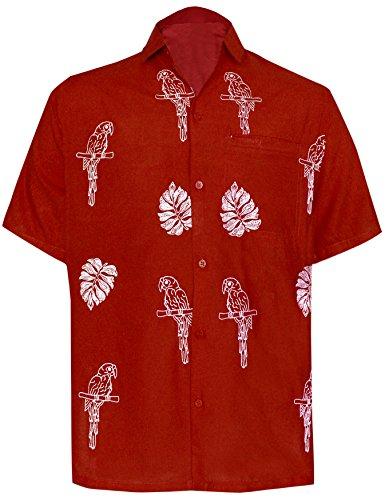 La Leela* Casual Pour les Hommes Chemise Hawaïenne Perroquet Avant Poche Manches Courtes Rouge X