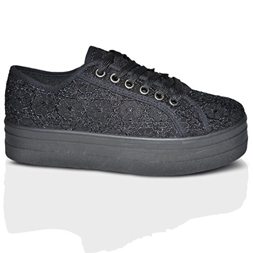 Xelay Womens Ladies Plimsolls Casual Flat Creepers Lace up Pumps Trainers Shoes Fashion Goth Punk Flatforms Size 3-8 Black Floral Net jjLor0