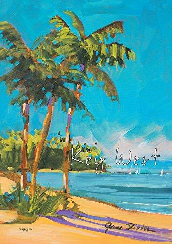 Toland Home Garden Island Time Key West 28 x 40 Inch Decorative Regional Florida Tropical Summer Beach Palm Tree House - Shore West Sun