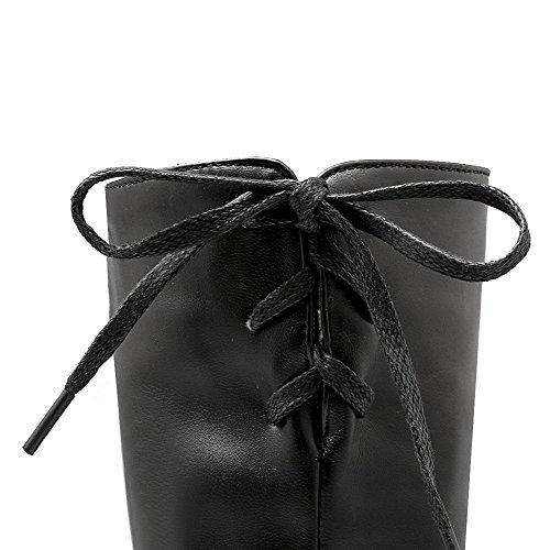 AllhqFashion Mujeres Puntera Redonda Cordones Sólido Caña Media Tacón Grueso Botas con Nudo Negro