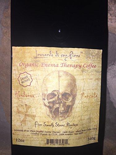 (Leonardo di ser Piero Organic Gourmet NON-GMO Light roast Arabica Whole Coffee Beans - Organic Enema Therapy Coffee, Net Wt. 12oz / 340g )