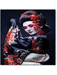 Japan Bandana by Lunarable, Young Pretty Geisha in Kimono with Sakura Traditional Oriental Costume Makeup, Printed Unisex Bandana Head and Neck Tie Scarf Headband, 22 X 22 Inches, Red Black Cream