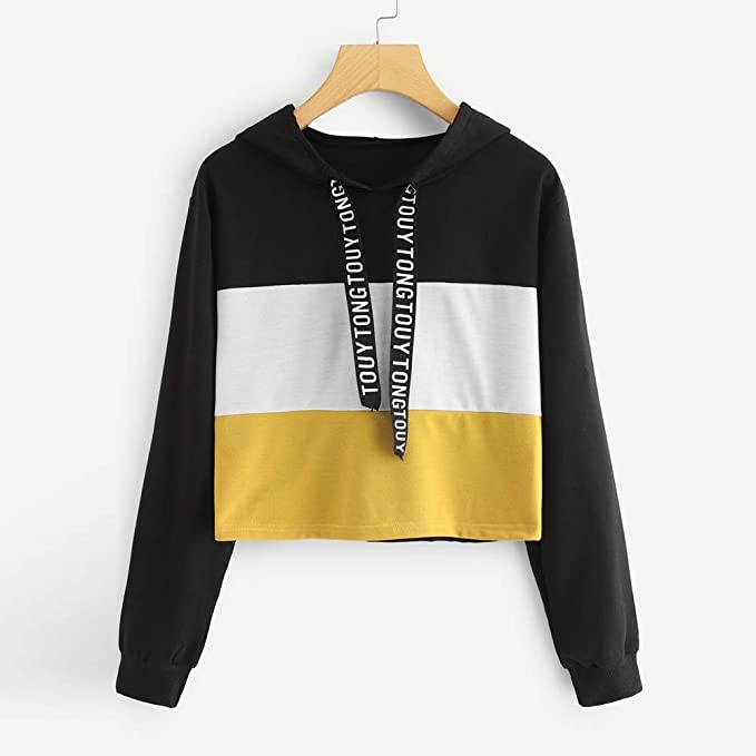 Amazon.com: SMALLE ◕‿◕ Clearance,Sweatshirt for Women,Long Sleeve Letter Print Tape Drawstring Hoodie Colorblock Sweatshirt: Clothing