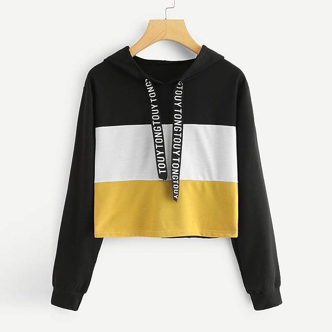 Amazon.com: SMALLE ◕‿◕ Clearance,Sweatshirt for Women,Long Sleeve Letter Print Tape Drawstring Hoodie Colorblock Sweatshirt: Clothing