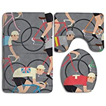 Tidal Current Painting Cycle Gift World Road Race Championship Cyclists Peloton Soft Toilet Carpet Three Pieces,Non Slip Bathroom Rugs,Toilet Lid Cover,U-Shaped Toilet Mat