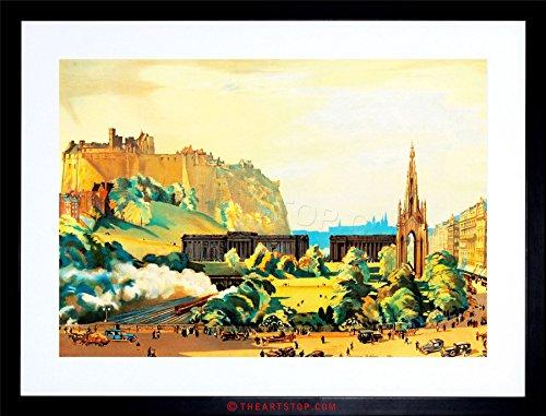 Wee Blue Coo The Art Stop Painting Cityscape Edinburgh Castle Scott Monument Framed Print F97X4498